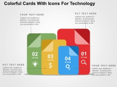 Colorful Cards With Icons For Technology Powerpoint Templates