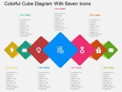 Colorful Cube Diagram With Seven Icons Powerpoint Template