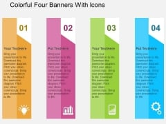 Colorful Four Banners With Icons Powerpoint Templates