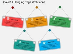 Colorful Hanging Tags With Icons Powerpoint Template