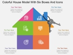 Colorful House Model With Six Boxes And Icons Powerpoint Template