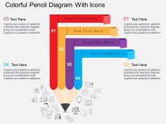 Colorful Pencil Diagram With Icons Powerpoint Template