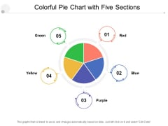 Colorful Pie Chart With Five Sections Ppt PowerPoint Presentation Show Example File