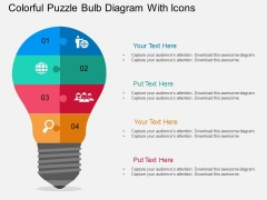 Colorful Puzzle Bulb Diagram With Icons Powerpoint Template