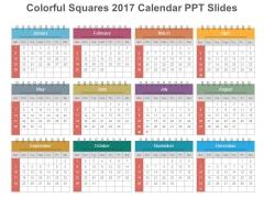 Colorful Squares 2017 Calendar Ppt Slides