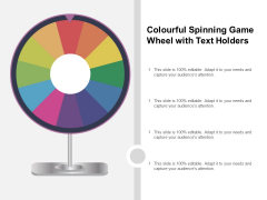 Colourful Spinning Game Wheel With Text Holders Ppt PowerPoint Presentation Inspiration Model Cpb
