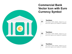 Commercial Bank Vector Icon With Euro Currency Symbol Ppt PowerPoint Presentation Portfolio Design Ideas PDF