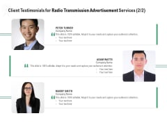 Commercial Broadcasting Client Testimonials For Radio Transmission Advertisement Services Audience Icons PDF