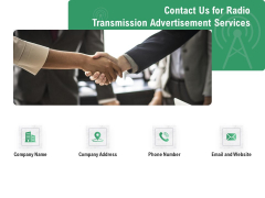 Commercial Broadcasting Contact Us For Radio Transmission Advertisement Services Brochure PDF