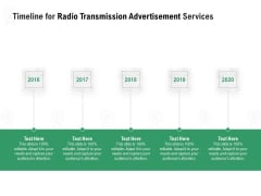 Commercial Broadcasting Timeline For Radio Transmission Advertisement Services Brochure PDF
