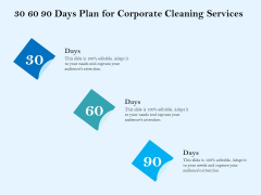 Commercial Cleaning Services 30 60 90 Days Plan For Corporate Cleaning Services Template PDF