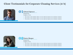 Commercial Cleaning Services Client Testimonials For Corporate Cleaning Services Designation Infographics PDF