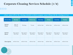 Commercial Cleaning Services Corporate Cleaning Services Schedule Description Demonstration PDF
