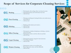 Commercial Cleaning Services Scope Of Services For Corporate Cleaning Services Slides PDF