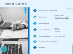 Commercial Cleaning Services Table Of Contents Brochure PDF