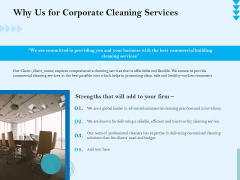 Commercial Cleaning Services Why Us For Corporate Cleaning Services Infographics PDF