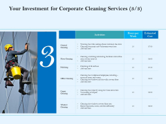 Commercial Cleaning Services Your Investment For Corporate Cleaning Services Polishing Template PDF