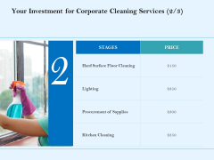 Commercial Cleaning Services Your Investment For Corporate Cleaning Services Summary PDF