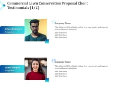 Commercial Lawn Conservation Proposal Client Testimonials Communication Ppt Styles Example File PDF