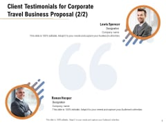 Commercial Travel And Leisure Commerce Client Testimonials For Corporate Travel Business Proposal Management Rules PDF