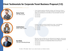 Commercial Travel And Leisure Commerce Client Testimonials For Corporate Travel Business Proposal Marketing Background PDF