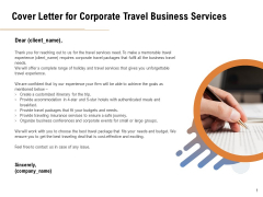 Commercial Travel And Leisure Commerce Cover Letter For Corporate Travel Business Services Summary PDF