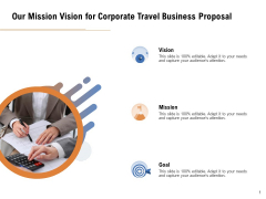 Commercial Travel And Leisure Commerce Our Mission Vision For Corporate Travel Business Proposal Inspiration PDF