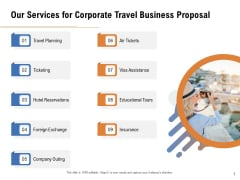 Commercial Travel And Leisure Commerce Our Services For Corporate Travel Business Proposal Elements PDF