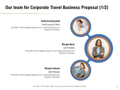 Commercial Travel And Leisure Commerce Our Team For Corporate Travel Business Proposal Executive Summary PDF