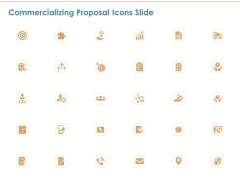Commercializing Proposal Icons Slide Ppt Infographics Template PDF