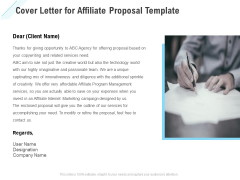 Commission Based Marketing Cover Letter For Affiliate Proposal Ppt Portfolio Grid PDF