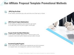 Commission Based Marketing Our Affiliate Proposal Template Promotional Methods Ppt Pictures Demonstration PDF