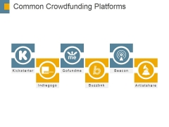 Common Crowdfunding Platforms Ppt PowerPoint Presentation Model Demonstration