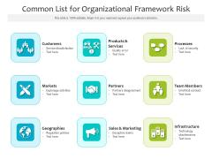 Common List For Organizational Framework Risk Ppt PowerPoint Presentation File Summary PDF