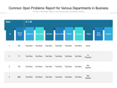 Common Open Problems Report For Various Departments In Business Ppt PowerPoint Presentation File Gallery PDF