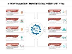 Common Reasons Of Broken Business Process With Icons Ppt PowerPoint Presentation Infographics Master Slide PDF