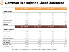 Common Size Balance Sheet Statement Ppt PowerPoint Presentation Model Layouts