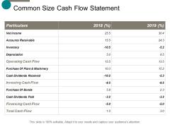 common size cash flow statement ppt powerpoint presentation show introduction
