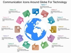 Communication Icons Around Globe For Technology Powerpoint Template