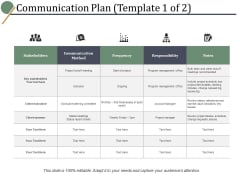 Communication Plan Frequency Ppt PowerPoint Presentation Infographic Template Structure