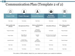 Communication Plan Project Manager Ppt PowerPoint Presentation Gallery Model