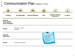 Communication Plan Template 1 Ppt PowerPoint Presentation Show Slides