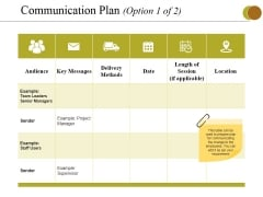 Communication Plan Template 1 Ppt PowerPoint Presentation Styles Maker