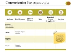 Communication Plan Template 2 Ppt PowerPoint Presentation Styles Picture