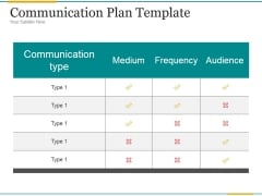 Communication Plan Template Ppt PowerPoint Presentation Designs