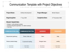 Communication Template With Project Objectives Ppt PowerPoint Presentation Slides Diagrams PDF
