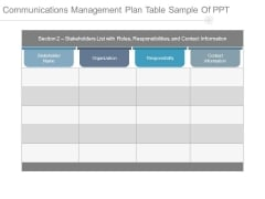 Communications Management Plan Table Sample Of Ppt