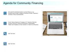 Community Capitalization Pitch Deck Agenda For Community Financing Introduction PDF