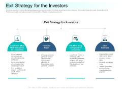 Community Capitalization Pitch Deck Exit Strategy For The Investors Portrait Pdf