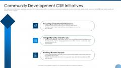Community Development CSR Initiatives Ppt Infographics Display PDF